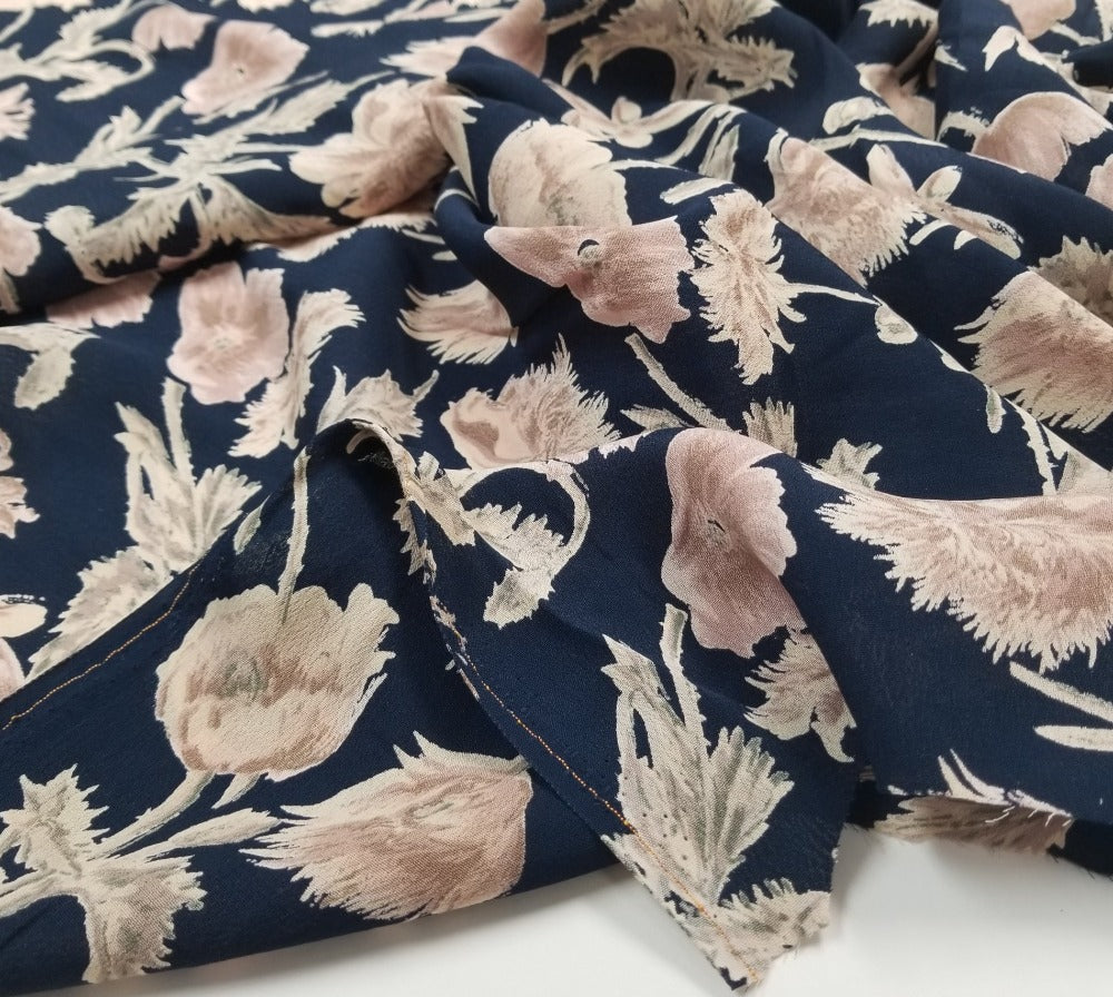 Designer Deadstock Sohla Floral Navy Rayon Crepe Woven- Sold by the yard