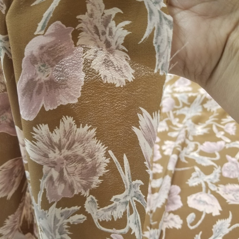 Designer Deadstock Sohla Floral Caramel Tan Rayon Crepe Woven- Sold by the yard