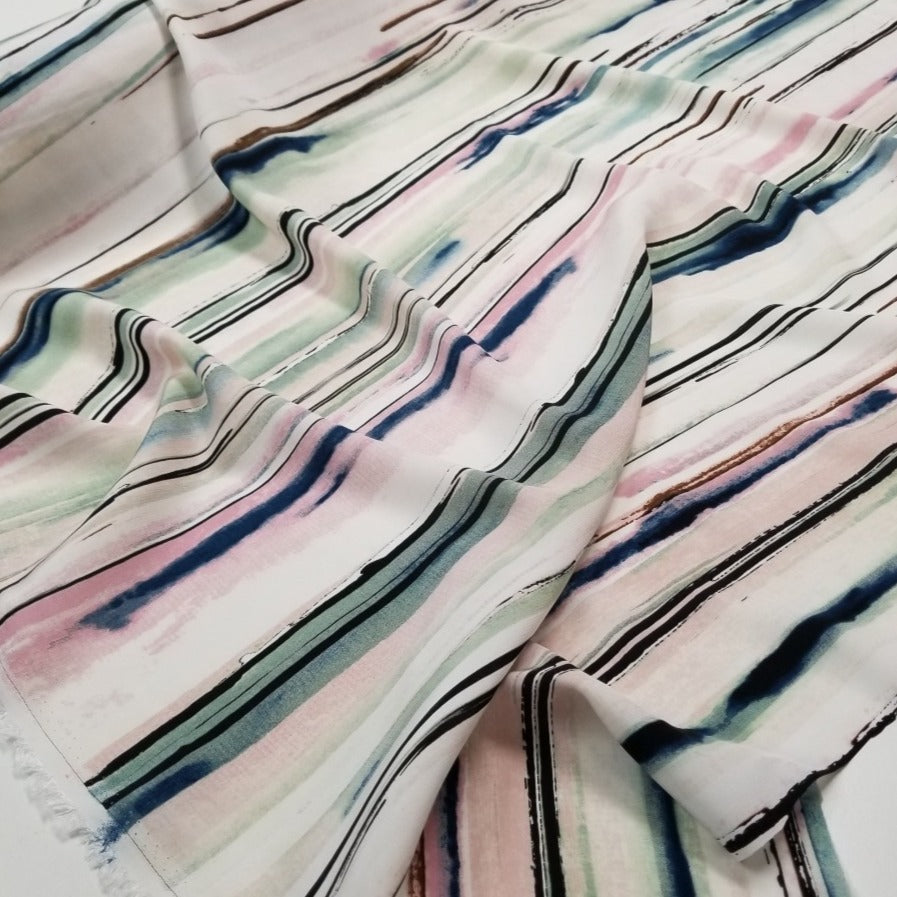 End of Bolt: 4-1/4th yards of Designer Deadstock Watercolor Painterly Rayon Woven- Remnant