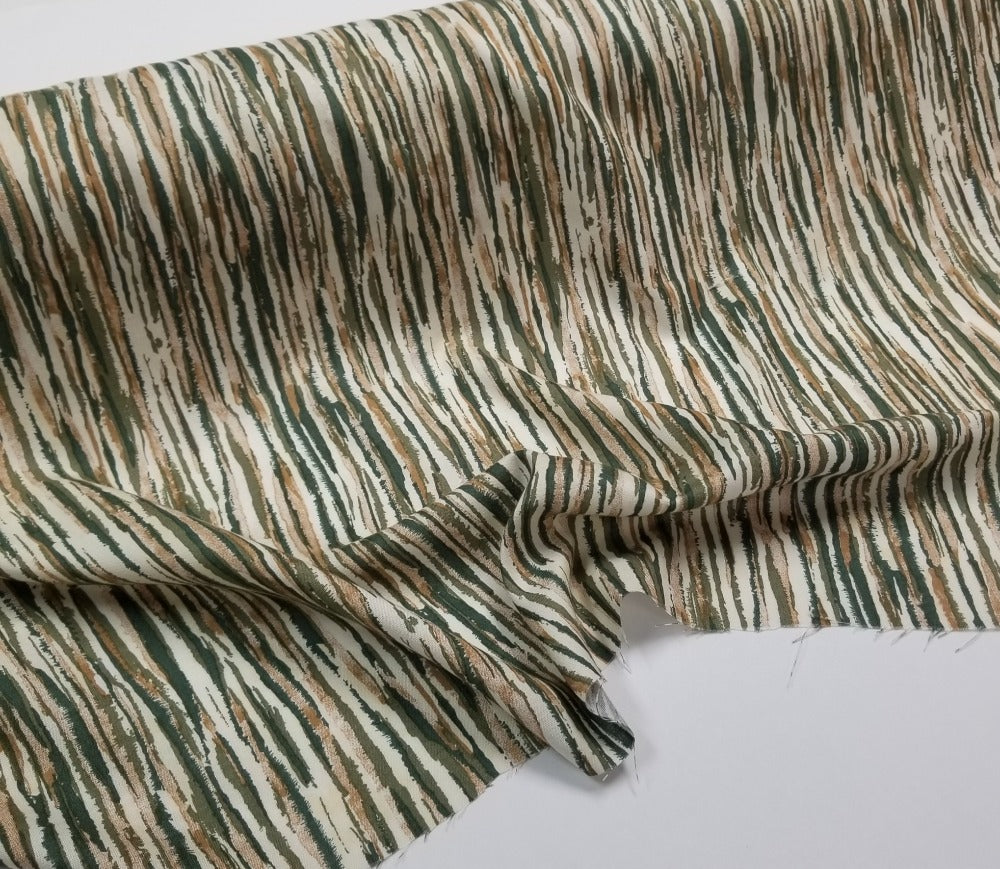 Designer Deadstock Rayon Medium Weight Opaque Sage & Tan Vertical Stripe Woven-Sold by the yard