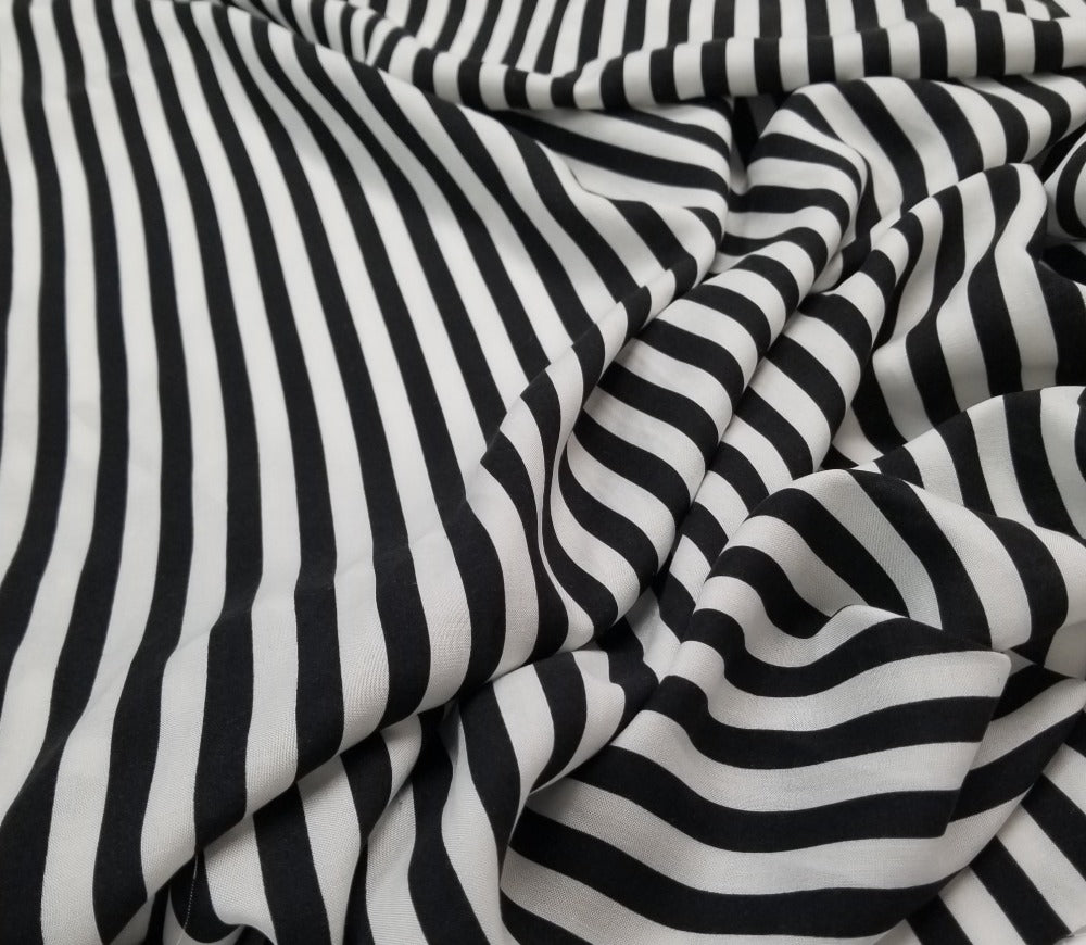 Designer Rayon Challis Black & White Vertical Stripe Woven-Sold by the yard