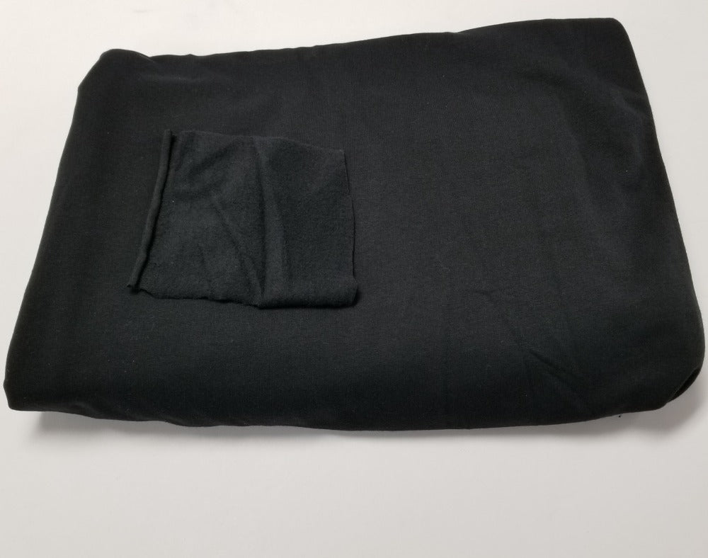 End of Bolt: 2.5 yards of Designer Deadstock Jet Black Sweatshirt Fleece Made in the USA-Remnant