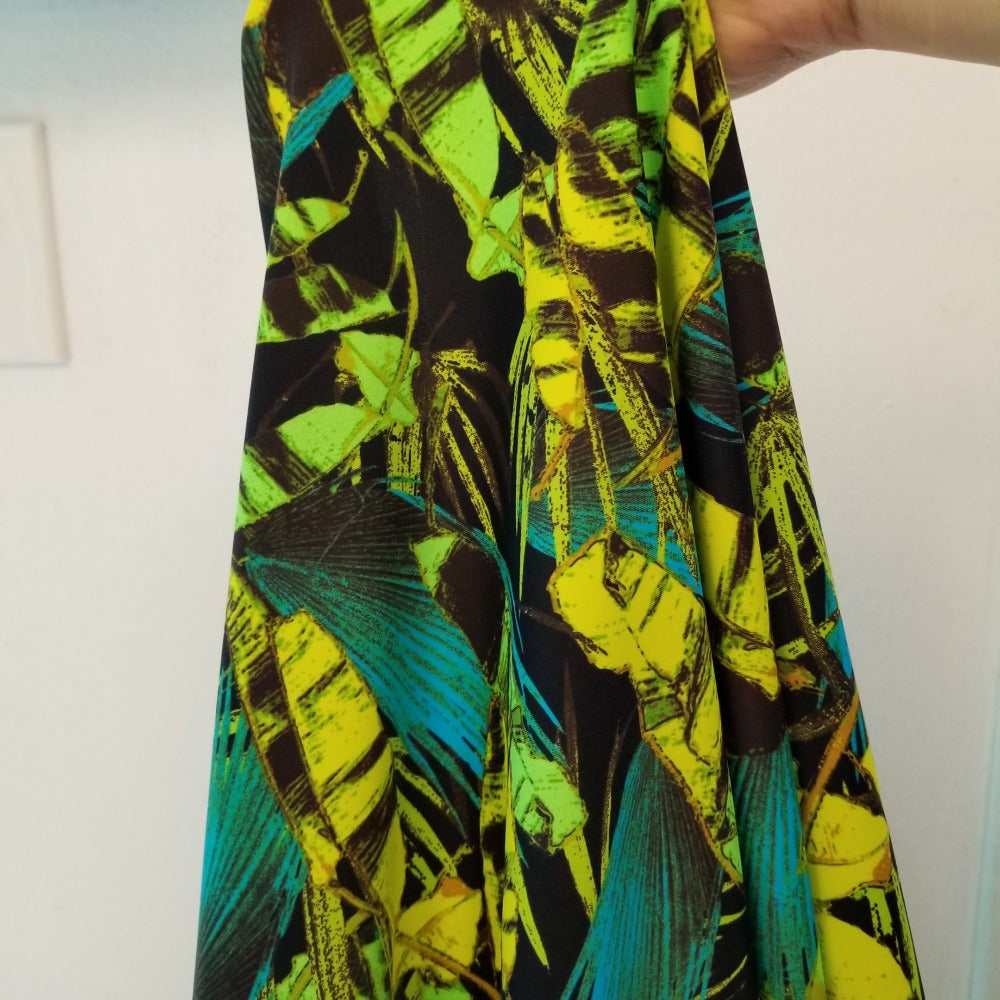 Designer Deadstock Tropical Paradise Lime Swim/Performance Wear Knit-Sold by the yard