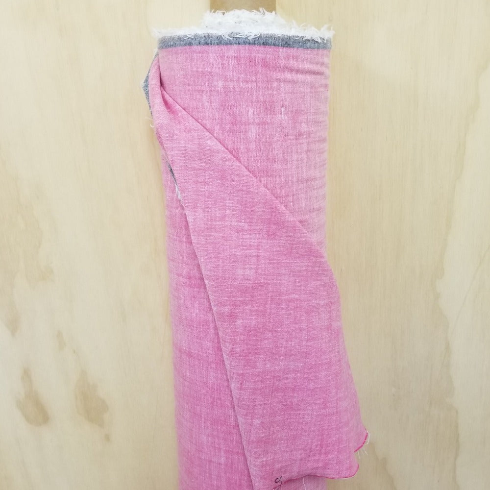 Designer Deadstock Pink Cotton Blend  Stretch Chambray Woven- Sold by the yard