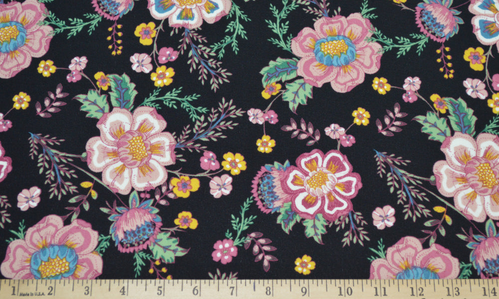 End of Bolt: 4.5 yards of Arboretum Bohemian Black Floral Blousewear Crepe Woven