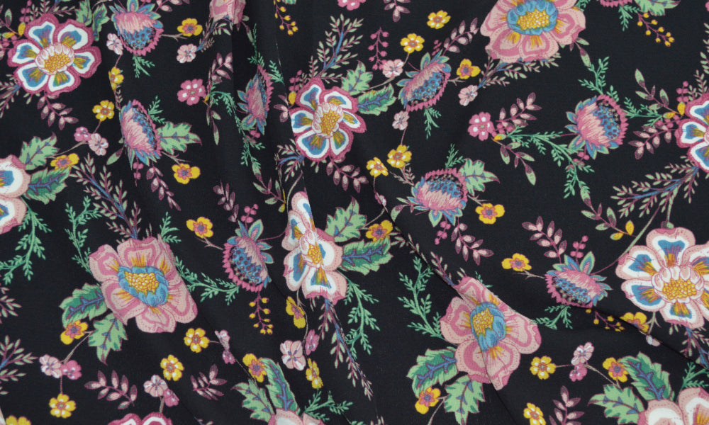 LA Finch fabrics bubble crepe. blousewear woven. floral bohemian fabric by the yard. Garment fabric by the yard.