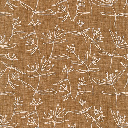 Driftless Beachgrass Roasted Pecan Cotton Linen Woven- By the Yard