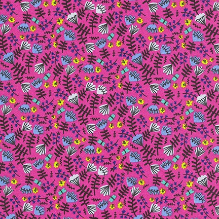 Kaufman Wild and Free Jungle Floral in Hot Pink 100% Cotton Woven- By the yard