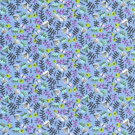 Kaufman Wild and Free Jungle Floral in Periwinkle 100% Cotton Woven- By the yard