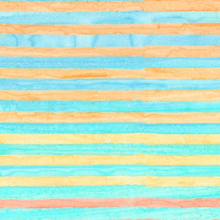 End of Bolt: 1-7/8th yards of Kaufman Artisan Batiks Elementals Capri Stripes Cotton Woven- remnant