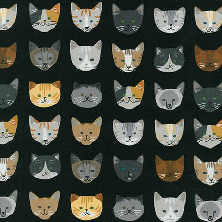 Whiskers & Tails Black Cotton Woven Print by Neiko Ng