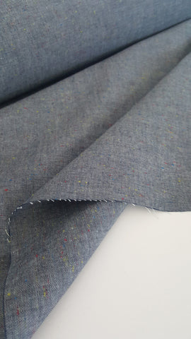 End of Bolt: 1 3/4th Yard of Fashion Shirting Denim Speckled Confetti Indigo
