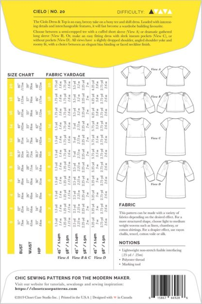 Pattern for Garment Making: Cielo Top & Dress by Closet Core Patterns