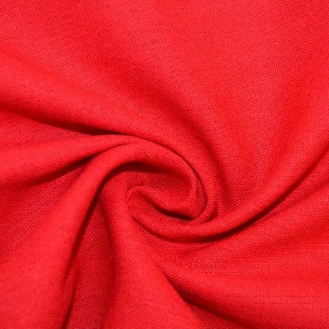 End of Bolt: 3 yards of Designer Rayon Linen Blend Solid Red Woven