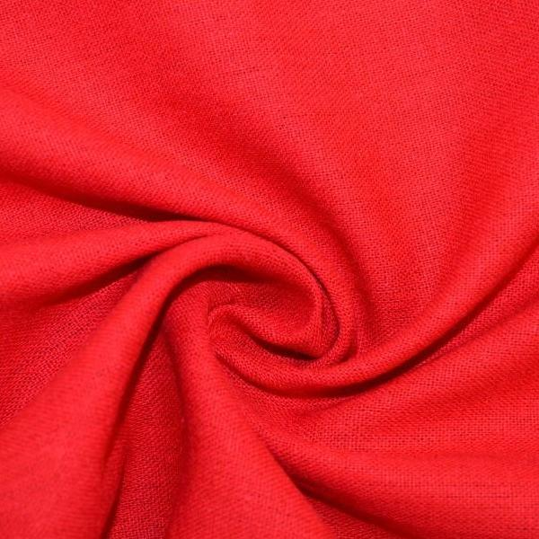 End of Bolt: 3-1/8th yards of Designer Rayon Linen Blend Solid Red Woven