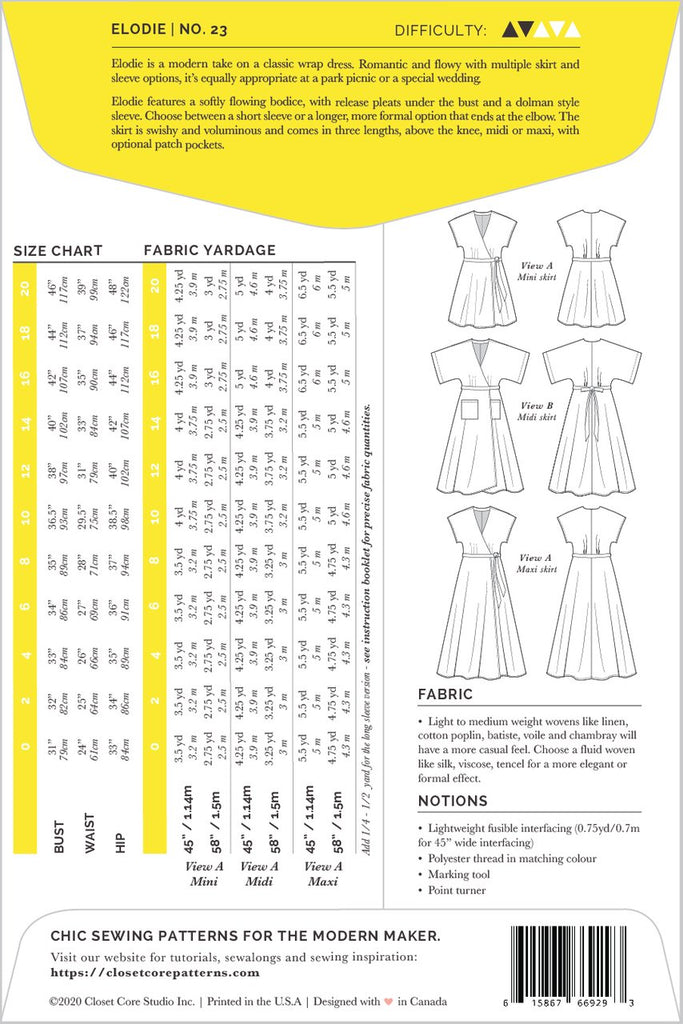 Patterns for Garment Making: Elodie Wrap Dress by Closet Core Patterns
