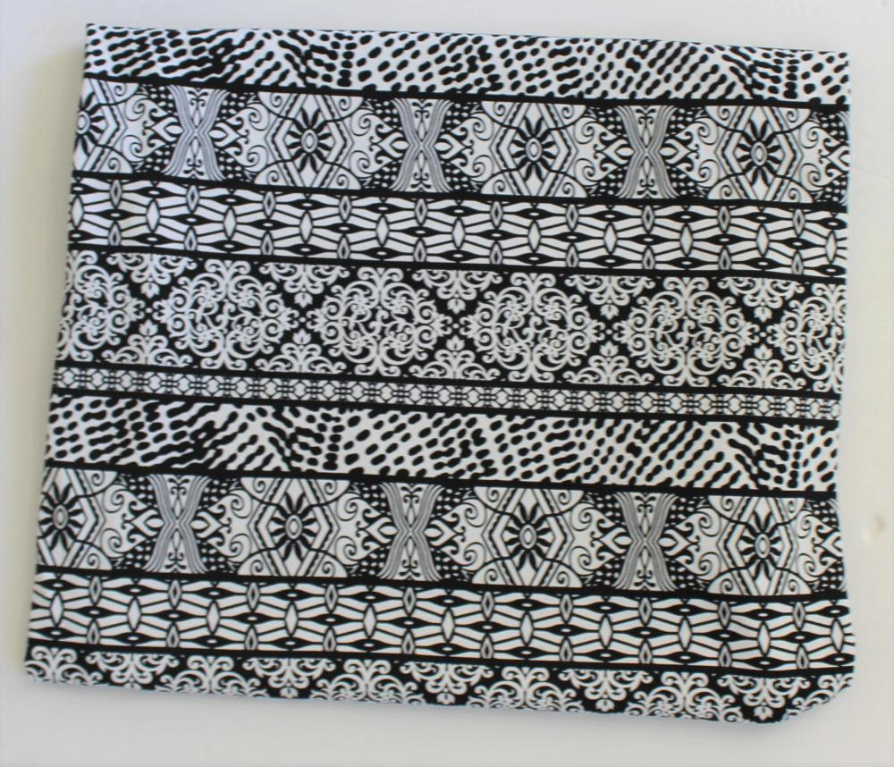 End of BOlt: 2-7/8th yards of Famous Maker Harley Black & White Floral Performance & Swim Knit