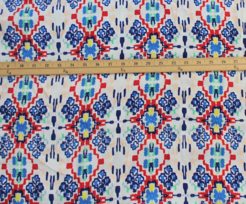End of Bolt: 1-5/8th yards of Famous Maker Ikat Premium Rayon Crepe Woven Medium Weight