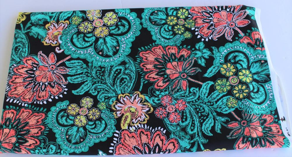 End of BOlt: 1-5/8th yards of Famous Maker Bohemian Folklore Floral Performance & Swim Knit-remnant