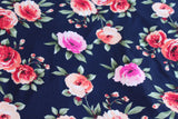 Romantic Floral Navy Rayon Spandex Knit