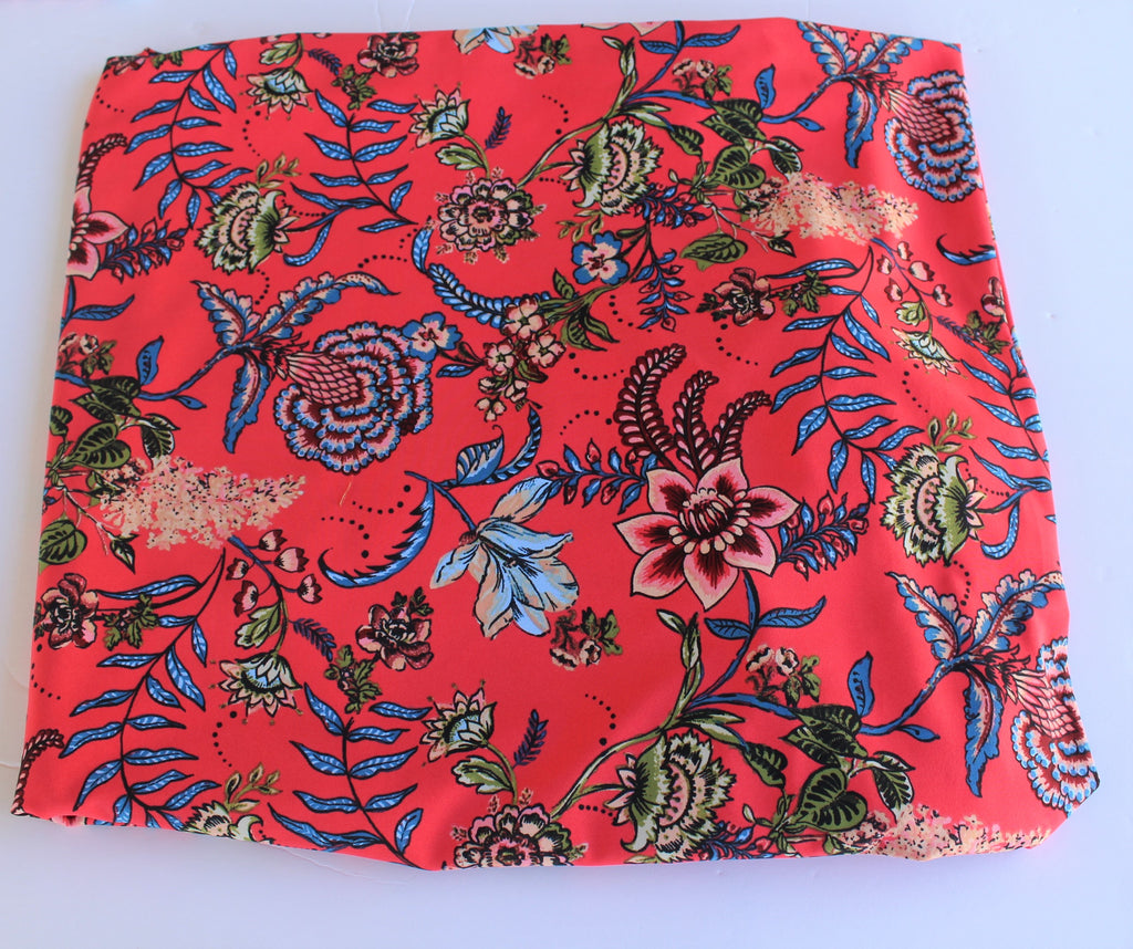 End of BOlt: 1.5 yards of Famous Maker Bohemian Folklore Salmon Red Floral Performance & Swim Knit