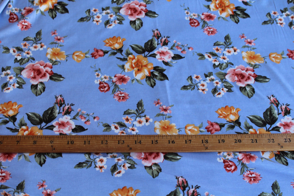 End of Bolt: 4 yards of  Romantic Floral Indigo Rayon Spandex Knit
