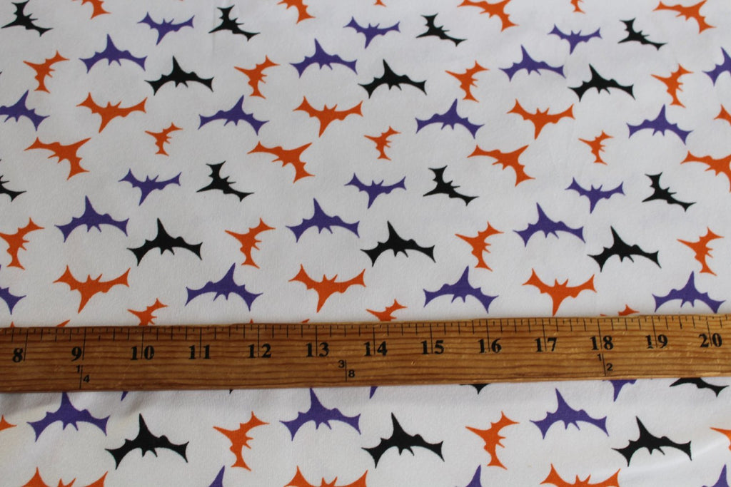 End of Bolt: 4-1/8th yards of  Soft Combed Halloween Cotton Spandex Bats Knit