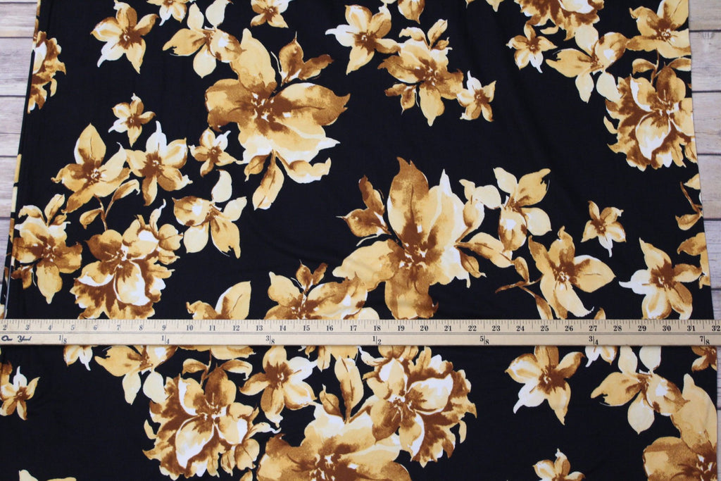 End of Bolt: 1-1/8th yards of Double Brushed Mustard Anji Floral Knit