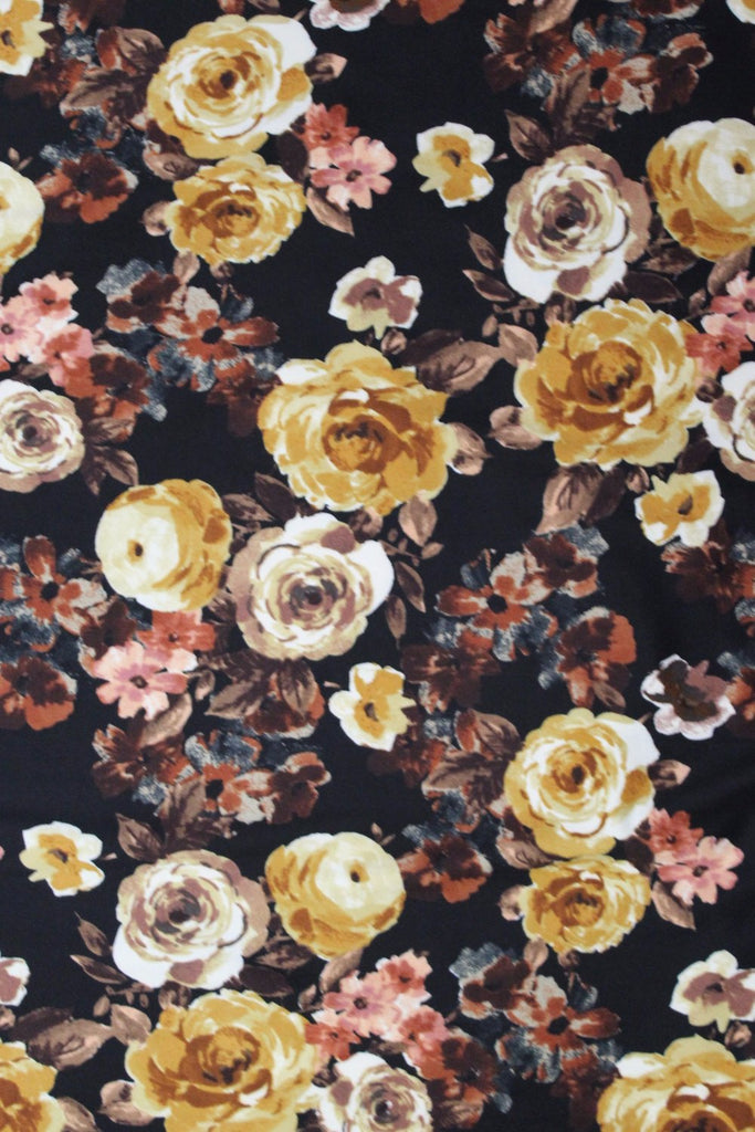 Double Brushed Romantic Floral Black & Mustard Knit