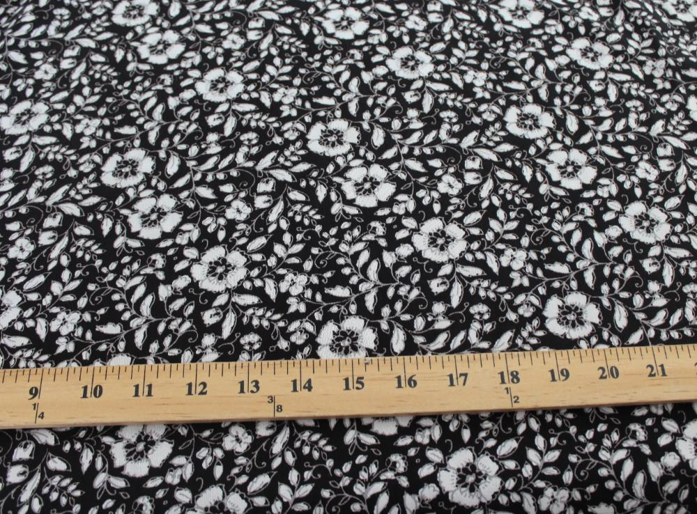 Famous Maker Rayon Challis Woven Lightweight Crepe Floral Black and Cream- By the yard