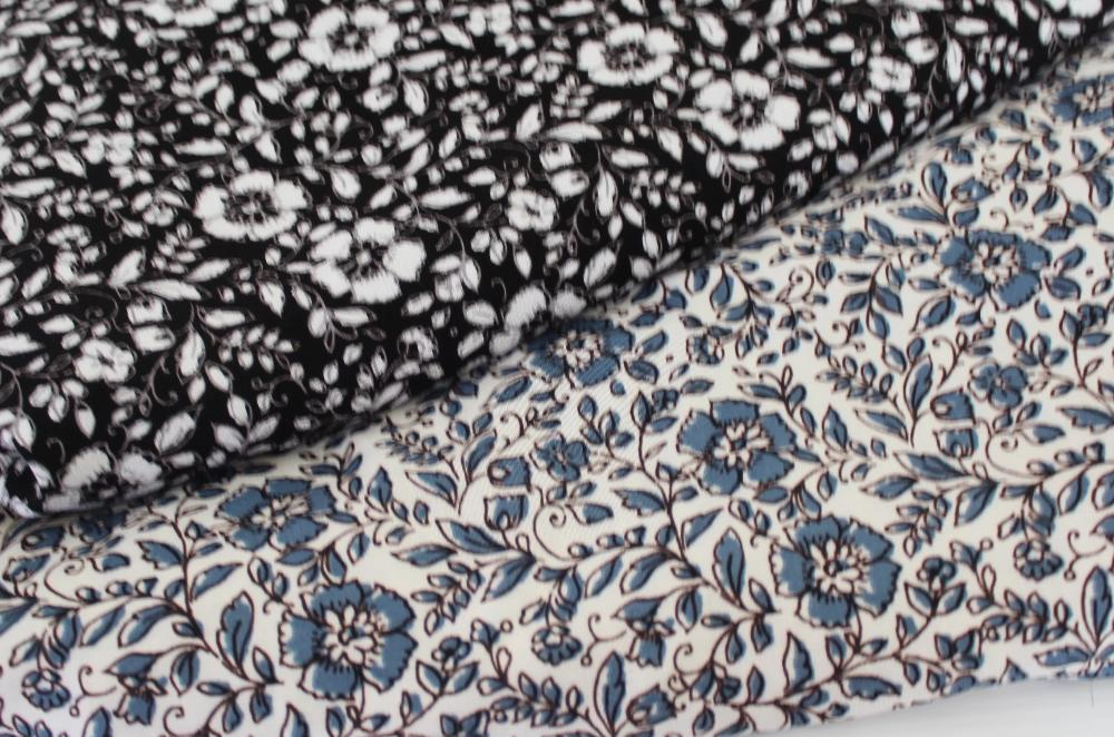 Famous Maker Rayon Challis Denim Blue Florals Woven-By the yard