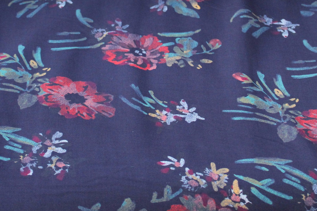 Designer Vintage Watercolor Whisper Floral Rayon Woven