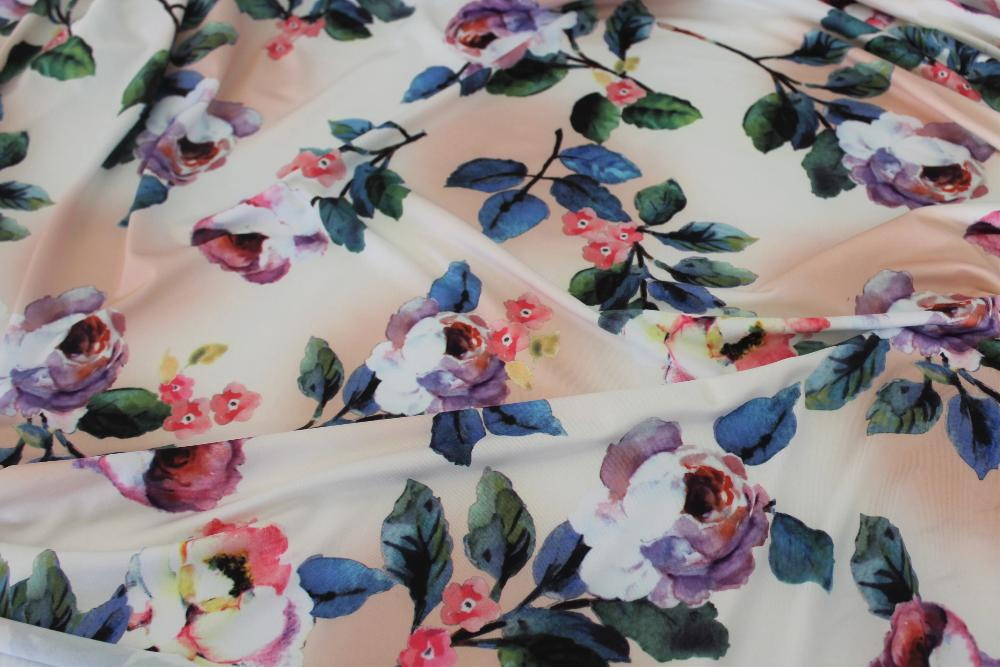 End of BOlt: 3 yards of Famous Maker  Blush & White Floral Performance Wear Knit