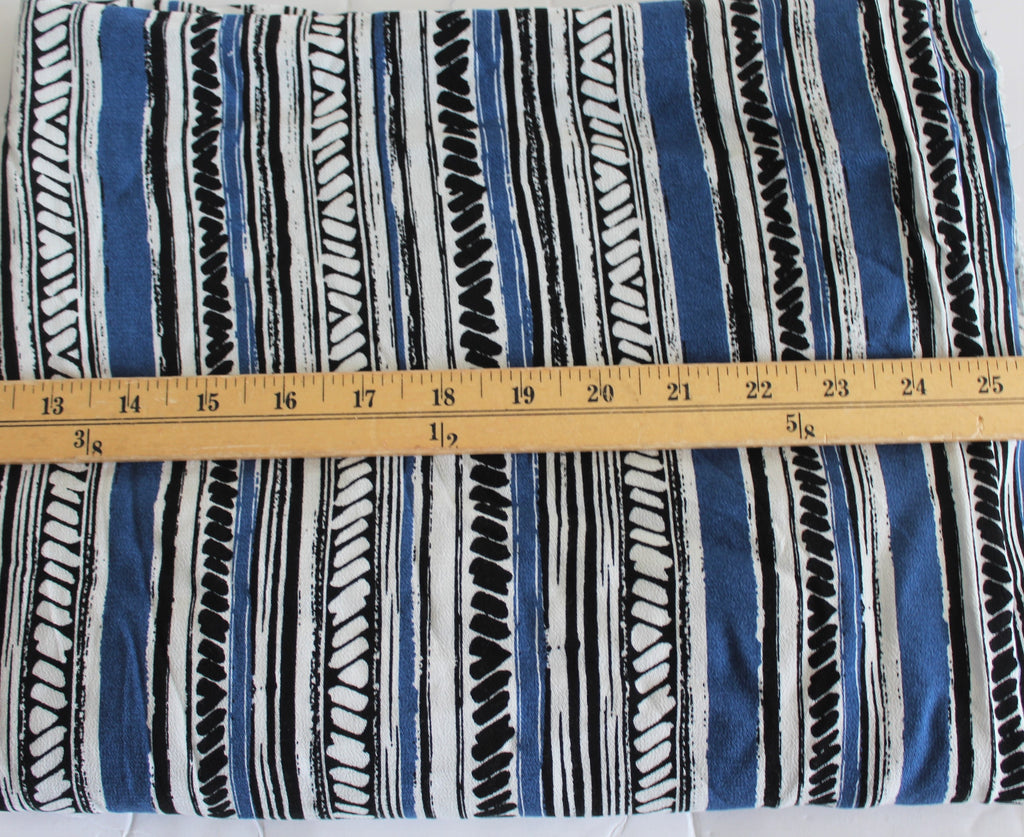 End of BOlt: 1/2 yard of Famous Maker Vertical Stripe Crepe Rayon Challis Woven-Remnant