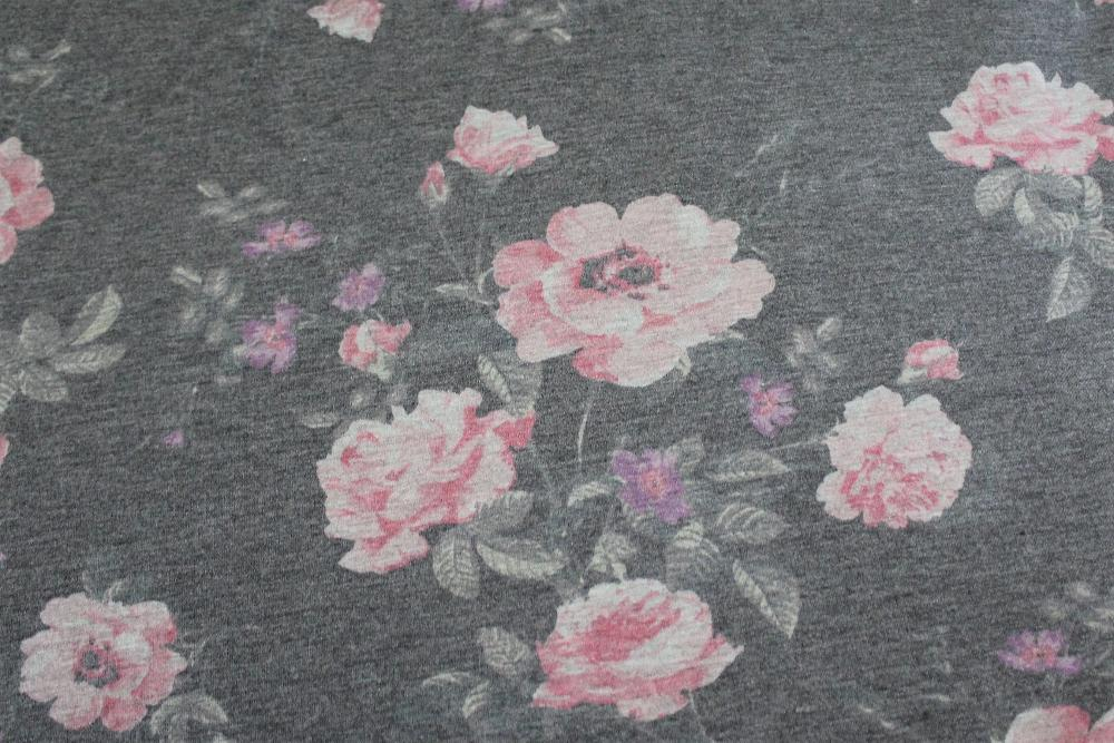 Floral Gray French Terry Knit