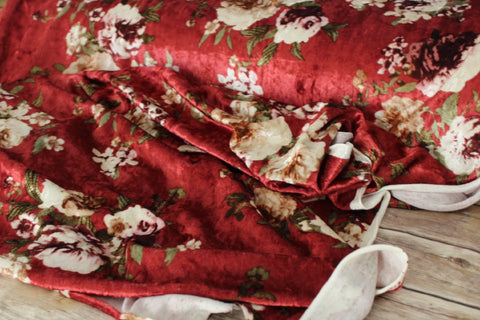 Crushed Stretch Velvet Floral Marsala