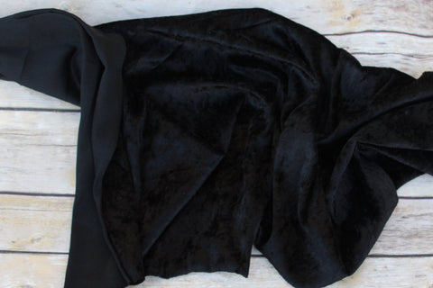Designer Panne Crushed Stretch Velvet Black