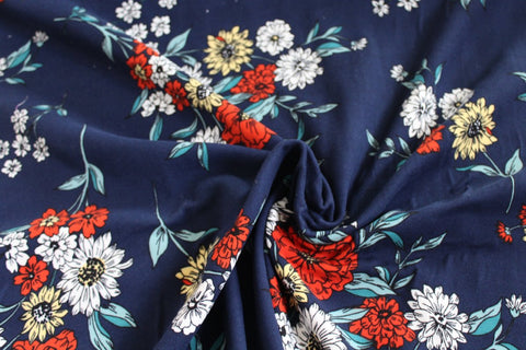 Double Brushed Flower Fields Navy Knit