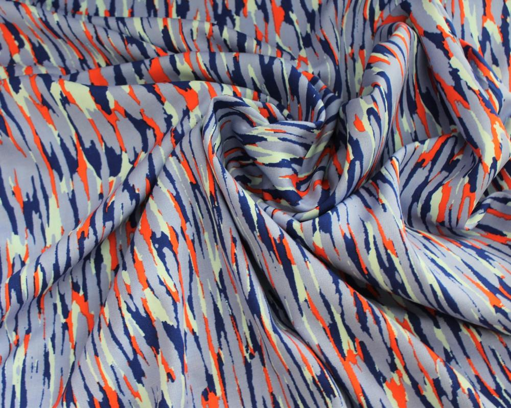 End of Bolt: 1.5 yards of  Famous Maker Adora Blue Rayon Challis