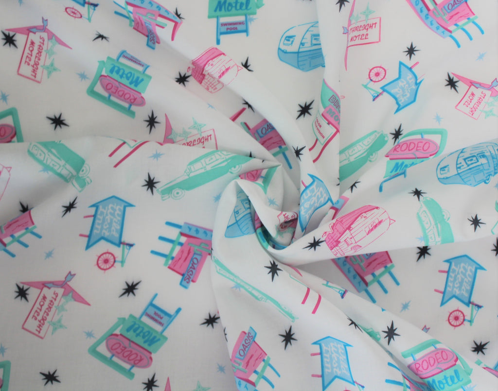 "End of Bolt: 3.5 yards of Designer ""On a Starlight Roadtrip"" Vintage Inspired Rayon Challis Print"