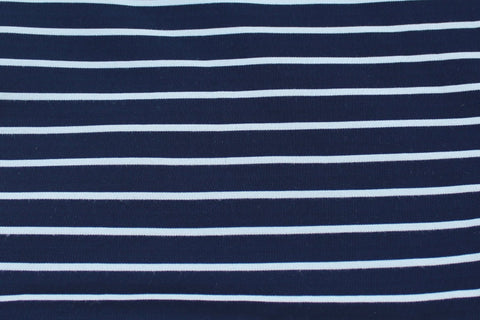End of Bolt: 3 yards of Ponte De Roma Small Stripe Dark Navy & Ivory Knit