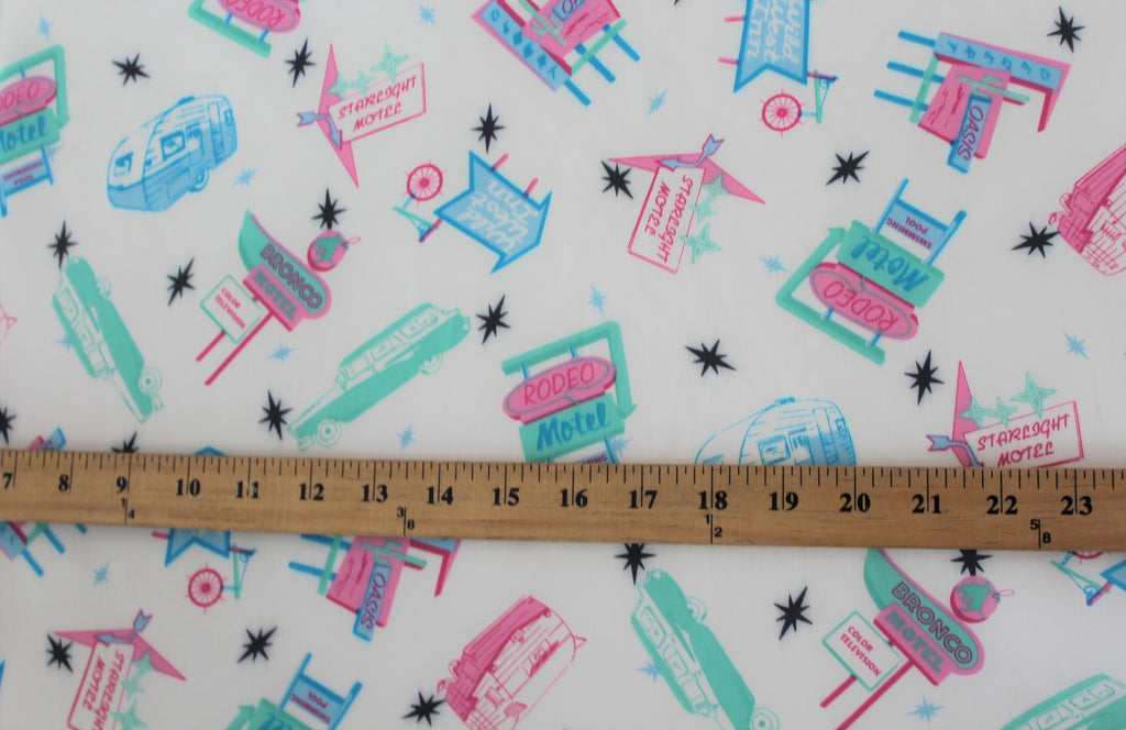 "Designer ""On a Starlight Roadtrip"" Vintage Inspired Rayon Challis Print"