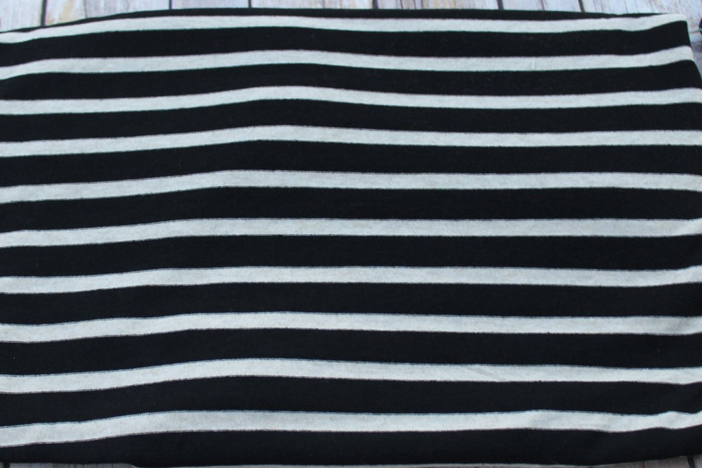 Designer Small Stripe Rayon Spandex Black & Oatmeal Knit