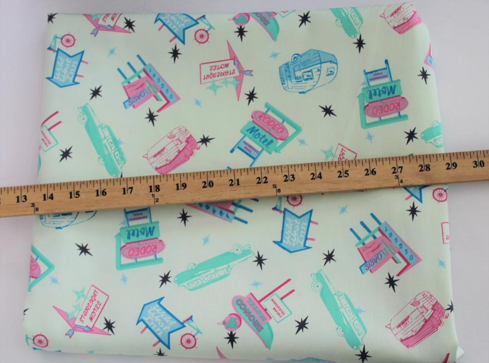 "End of Bolt: 2.5 yards of  Designer ""On a Starlight Roadtrip"" Vintage Inspired Mint Bottomweight Woven"
