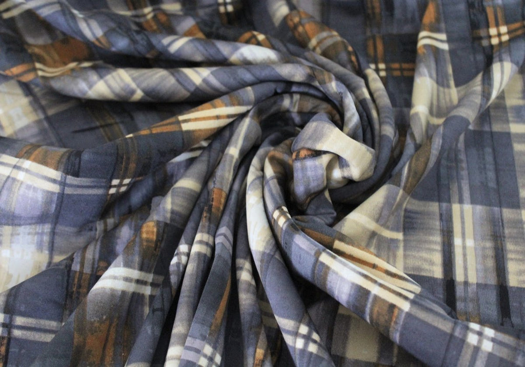 End of Bolt: 1.5 yards of  Designer Scuba Techno Brown & Gray Watercolor Plaid Knit