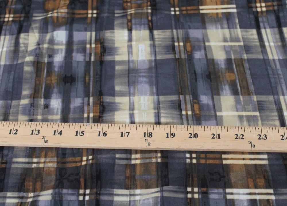 End of Bolt: 3 yards of  Designer Scuba Techno Brown & Gray Watercolor Plaid Knit