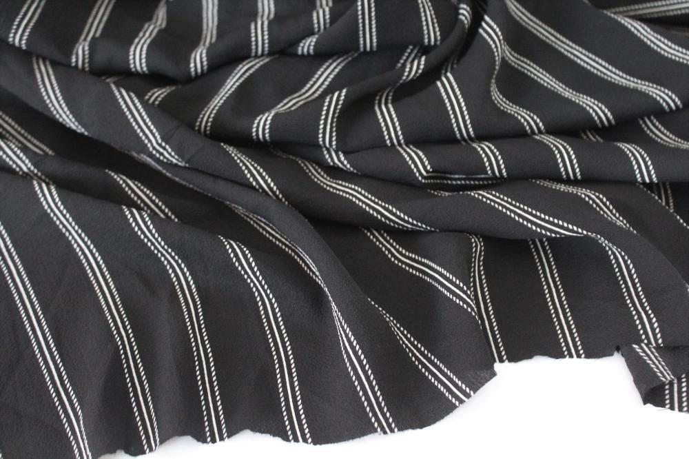 Arcadia Vertical Stripe Black and Ivory Blousewear Crepe Woven
