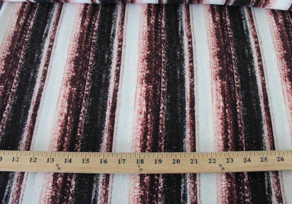 End of Bolt: 2.5 yards of Arcadia Vertical Sunset Stripe Wine Blousewear Crepe Woven