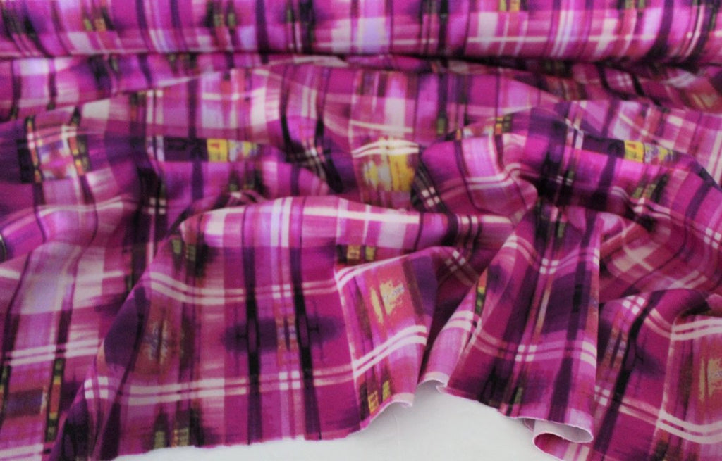 End of Bolt: 2-7/8th yards of Designer Scuba Techno Magenta Watercolor Plaid Knit