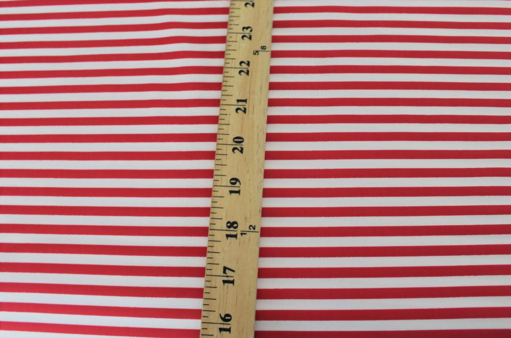 Famous Maker Small Stripe Red and White Nylon Spandex Performance Knit